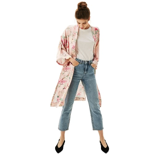 Mulheres Casaco de Kimono Floral 3/4 Mangas Aberta Frente Cintura Strap Side Slit Loose Long Coat Casual Tops Pink