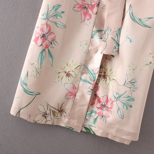 Women Floral Kimono Cardigan 3/4 Sleeves Open Front Waist Strap Side Slit Loose Long Coat Casual Tops Pink