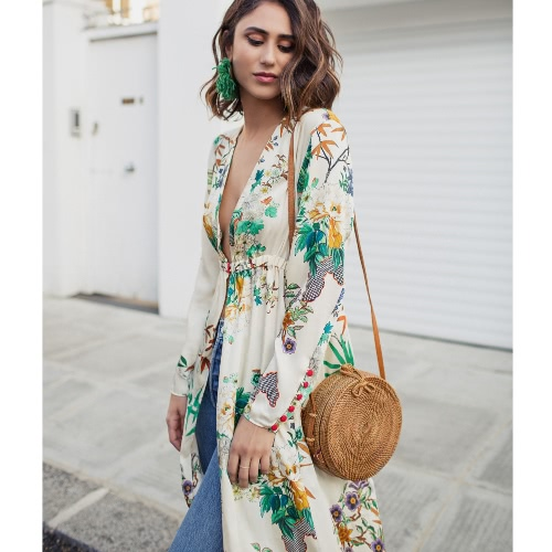 Women Floral Kimono Cardigan Deep V Neck Long Sleeves Elastic Waist Button Loose Long Coat Casual Tops