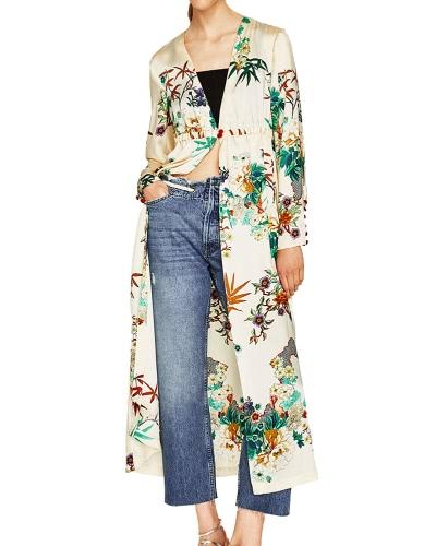 Mujeres Floral Kimono Cardigan Deep V cuello largo mangas elástico de la cintura botón suelto abrigo largo Tops Casual