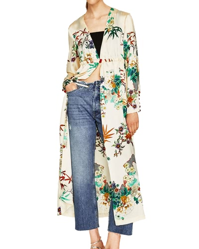 Women Floral Kimono Cardigan Deep V Neck Mangas compridas Elastic Waist Button Loose Long Coat Casual Tops