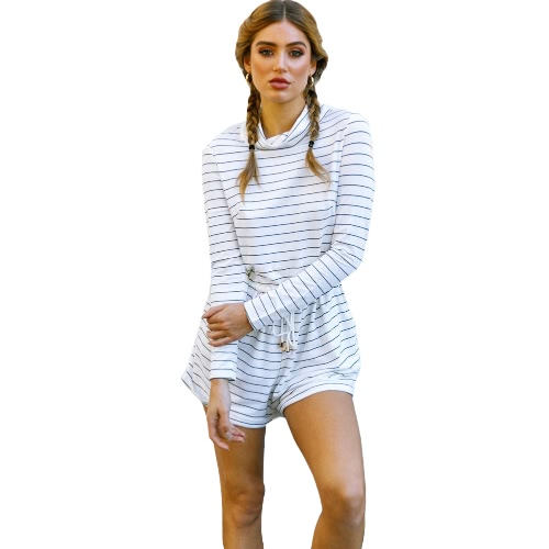Herbst Sexy Striped Overall Spielanzug Frauen High Neck Langarm Overalls Overall Casual Playsuit Weiß