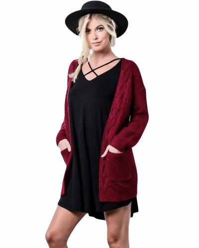 Neue Winter Herbst Frauen Strickjacke Pullover Lange Ärmel Taschen Elegante Oberbekleidung Burgund / Kaffee / Khaki