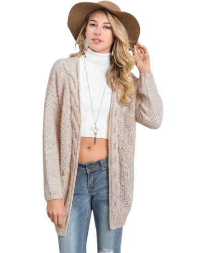 Nuevas mujeres del otoño del invierno hizo punto el suéter de la rebeca Bolsillos largos de las mangas Prendas de vestir exteriores elegante Borgoña / café / de color caqui