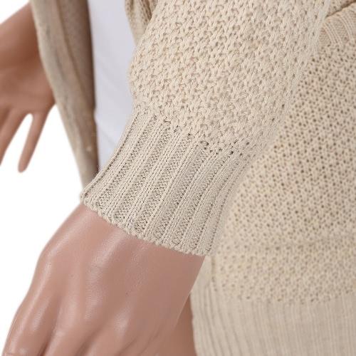 Новые зимние осенние женские трикотажные кардиганные свитера с длинными рукавами Карманы Элегантная верхняя одежда Бургундия / кофе / хаки фото
