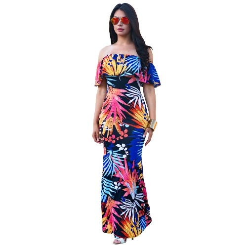 Sexy Women Off Shoulder Maxi Dress Ruffles Floral Print Slim Bodycon Flores Party Holiday Long Dress