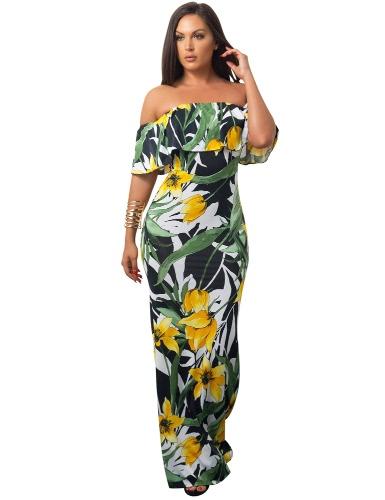 Las mujeres atractivas de hombro vestido maxi volantes florales impresión delgada Bodycon flores partido de vacaciones vestido largo