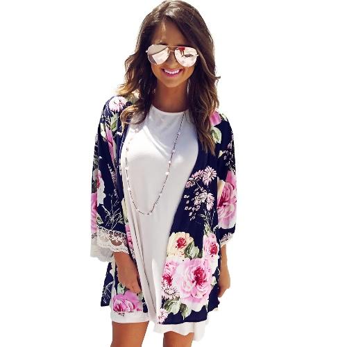 Moda Damski Kwiatowy Sukienka Dżinsowa Sukienka Kimono Kasztanowa Koronka Trójka Rękawa Bluzka Boho Bluzka Ciemnoniebieski