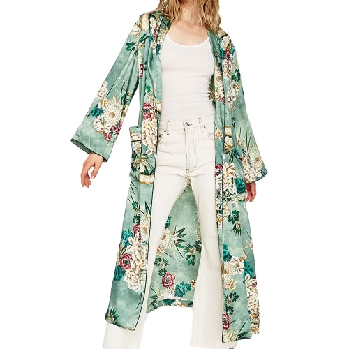 Vintage Women Retro Floral Print Long Kimono Coat Jacket Long Sleeve Cardigan Maxi Shawl Tops With Belt Green