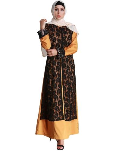 Mode Frauen Muslim Kleid Spitze Spleiß Lange Ärmel Abaya Kaftan Islamic Arab Robe Maxi Lange Kleid Gelb