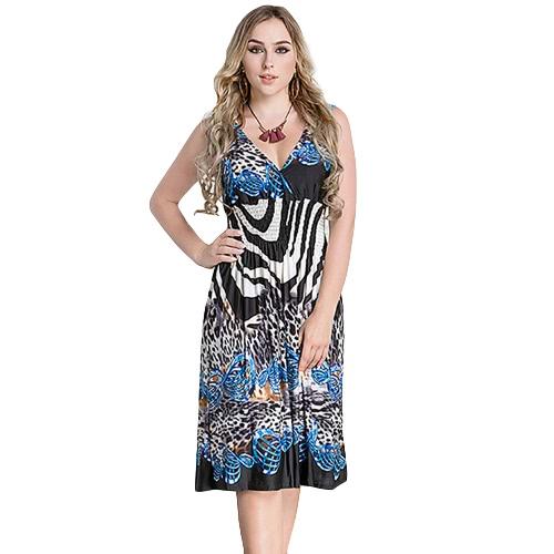 Tamanho Grande Mulheres Vestido Midi Gravura Geométrica Profundo V-pescoço sem mangas elástico de alta cintura elegante vestidos de festa