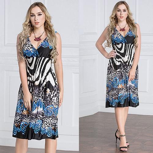 Vestiti eleganti dal partito Elastic elegante senza maniche in vita V-collo profondo geometrico di stampa delle donne di formato del formato di formato