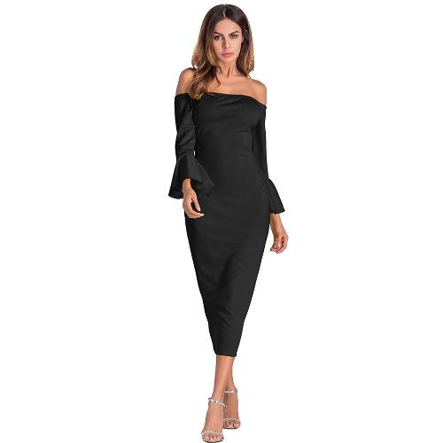 Sexy Women Bodycon Dress Off Shoulder Solid Flare Sleeves Party Club Midi Slim Vestidos
