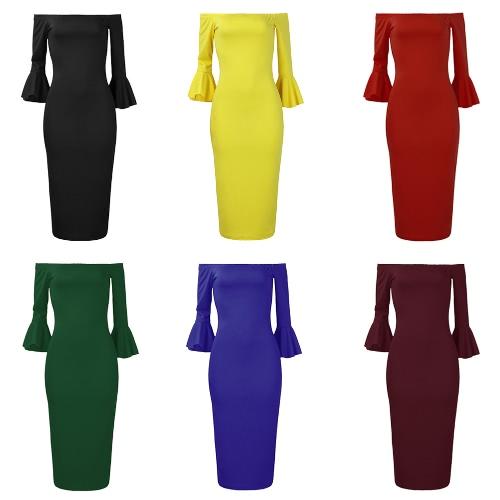 Сексуальные женщины Bodycon платье с плеча сплошной Flare рукава Party Club Midi Slim платья фото