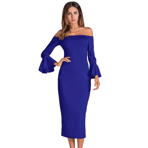 Sexy Women Bodycon Dress Off Shoulder Solid Flare Sleeves Party Club Midi Slim Dresses