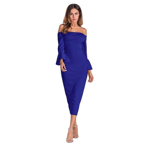 Vestido de Bodycon de las mujeres atractivas de las mangas sólidas de la llamarada del hombro Party Club Midi Slim Dresses
