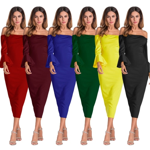 TOMTOP / Sexy Women Bodycon Dress Off Shoulder Solid Flare Sleeves Party Club Midi Slim Dresses