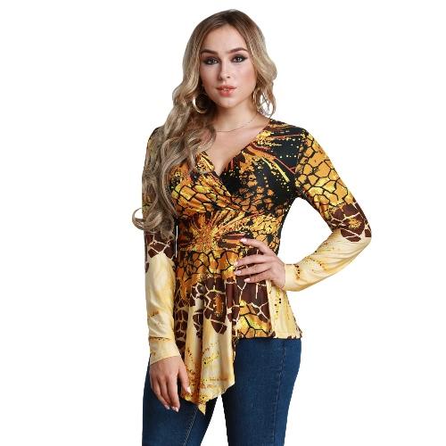 Women Plus Size Blouse Top Contrast Print V-Neck Asymmetric Hem Long Sleeve Top Yellow