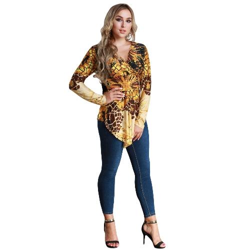 Mujeres Blusa de talla superior Contraste Imprimir V-cuello Asimétrico Hem Camiseta de manga larga Amarillo