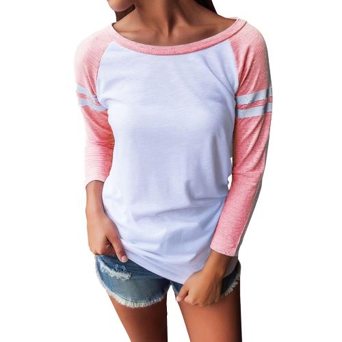 Mujeres Otoño T-shirt Blusa Rayas Empalme De Color O-cuello 3/4 Mangas Elegante Casual Top Pullover
