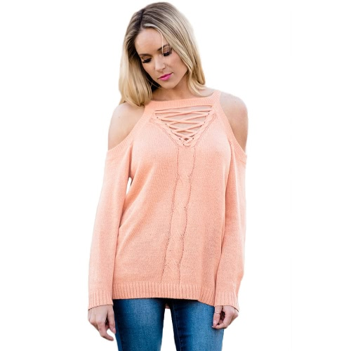 Elegant Cold Shoulder Knitted Sweater Mulheres Casual manga comprida Pullover Outono Winter Jumper