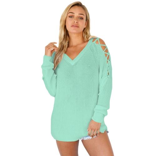 Las mujeres sueltan suéter de punto sólido de encaje hasta el hombro V-cuello de manga larga elegantes suéteres de punto caliente Knitwear