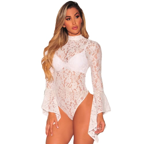Sexy Floral Lace Jumpsuit Long Bell mangas Turtle cuello Ahuecar hacia fuera Body Sheets trasero Bodycon