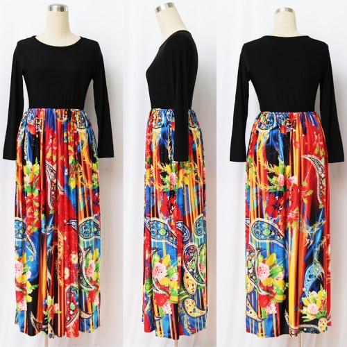 Женщины Макси Длинные платья Печать Длинные рукава Карманы Эластичные высокой талии плюс размер Осеннее платье Vestidos фото