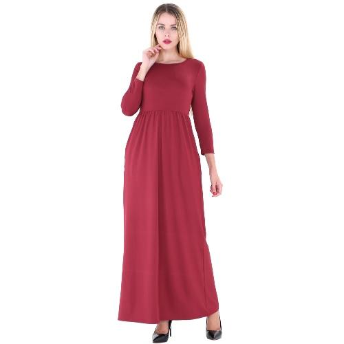 Mujer Maxi vestido largo O cuello 3/4 mangas bolsillos elástico de alta cintura sólido vestido Vestidos Elegante Otoño