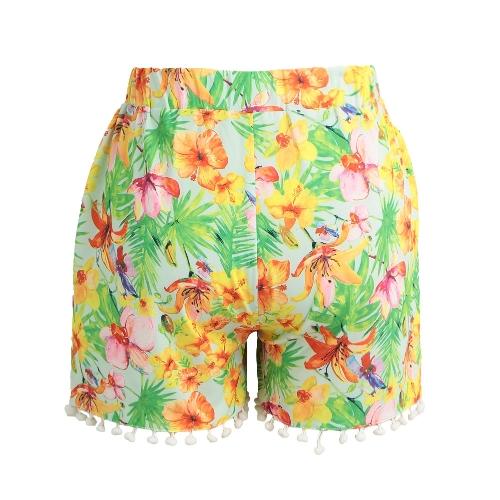 TOMTOP / Pantalones cortos para mujer Pantalones cortos elásticos de alta cintura Pom Pom