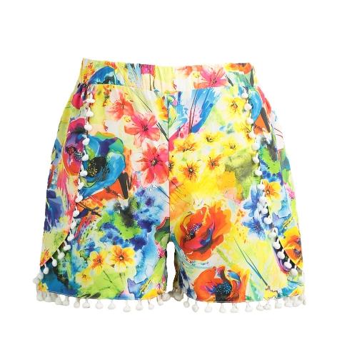 Pantalones cortos para mujer Pantalones cortos elásticos de alta cintura Pom Pom
