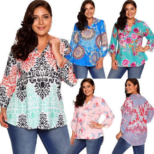 New Women Floral Print Blouse Rolled Sleeve Asymmetric Loose T-shirts Tunic Plus Size Tops