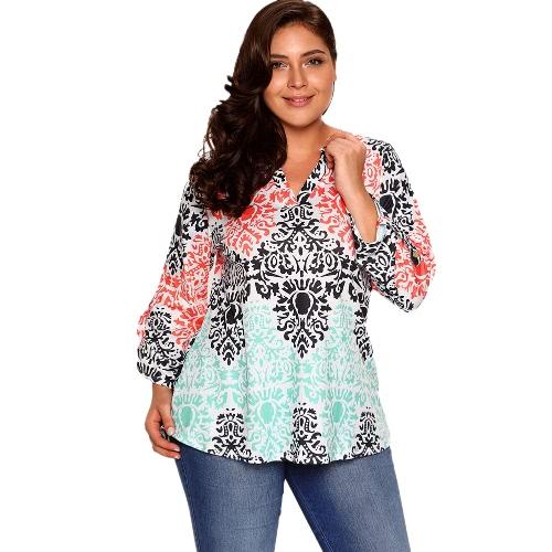 Neue Frauen Blumendruck Bluse Rolled Ärmel Asymmetrische Loose T-Shirts Tunika Plus Size Tops
