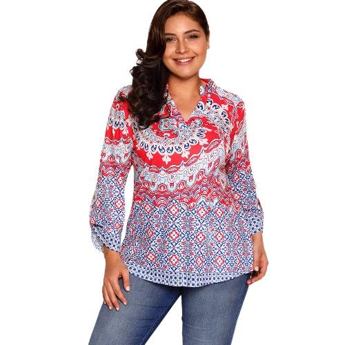 Nueva blusa de impresión floral de las mujeres manga rodada asimétrica suelta camisetas túnica más tallas de tamaño