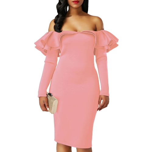 ff6acfc0b896 Sexy Women Bodycon Dress Off Shoulder Ruffles Solid Long Sleeves Elegant  Party Club Mini Dresses