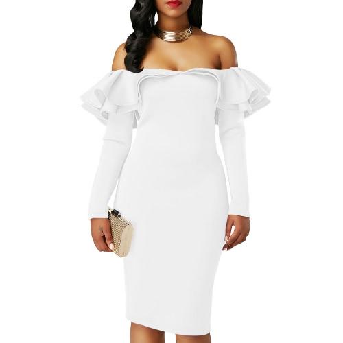 Vestido de Bodycon de las mujeres atractivas del hombro Ruffles Sólido Long Sleeves Elegant Party Club Mini Vestidos