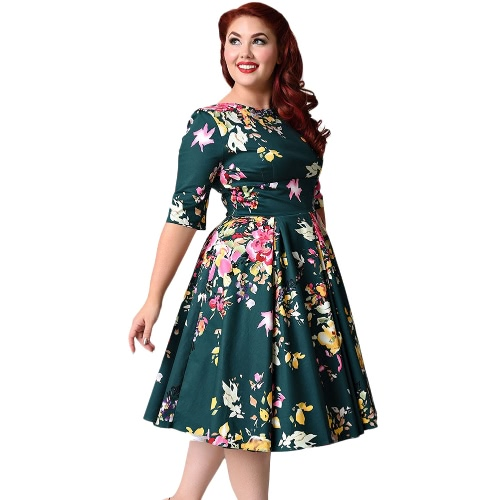 New Vintage Plus Size Floral Swing Dress Rodada Neck Half Sleeve Cintura alta Voltar Zip Party Vestido plissado