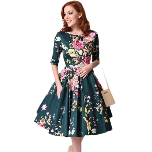 New Vintage Plus Size Floral Swing Dress Round Neck Half Sleeve High