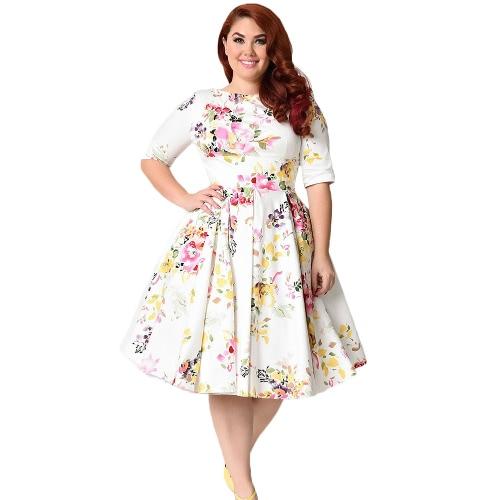 Nueva vendimia más tamaño floral Swing vestido de cuello redondo media manga de cintura alta parte trasera partido plisado