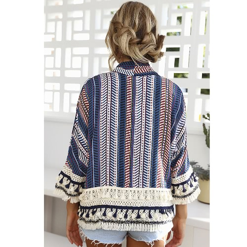 Women Jacket Printed Loose Kimono Cardigan Coat Crochet Lace Long Sleeve Casual Shirt Top Outerwear Blue/Orange
