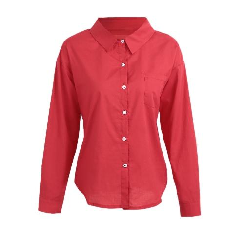 Moda Mulher Sólida Camisa Botão Frente Girar Colar Camisola Longa Camisa solta Tops Blusa Khaki / Vermelho / Branco