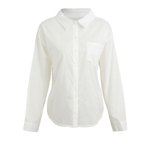 Moda Mujer Camisa Sólida Botón Abajo Abajo Collar manga larga Camisa suelta Blusa Top caqui / rojo / blanco