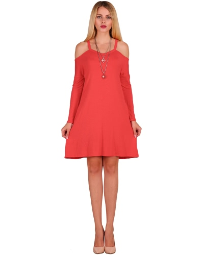 Nuevas mujeres de moda de hombro frío Mini vestido de correa de espagueti Side bolsillos de manga larga partido de swing swing
