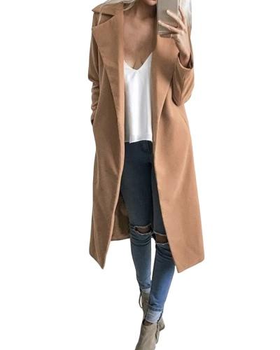 Otoño Invierno Mujeres abrigo manga larga bolsillos Casual chaquetas Sólidos sobretodo