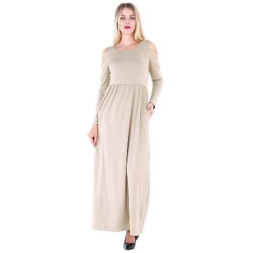 Frauen Maxi T-Shirt Kleid Solid Off Schulter Hohe Taille Taschen Rundhals Langes Kleid Slim Casual One-Piece