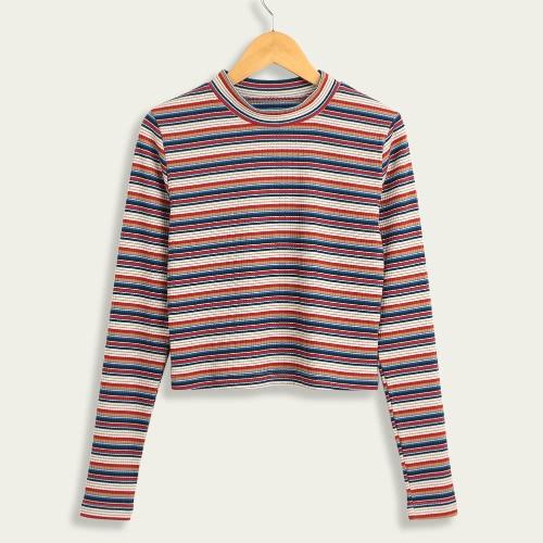 Mulheres colhidas Pullover Pullover Sweaters com nervuras tricotadas Manga comprida Bainha Stretchy Jumpers Crop Knitting Top