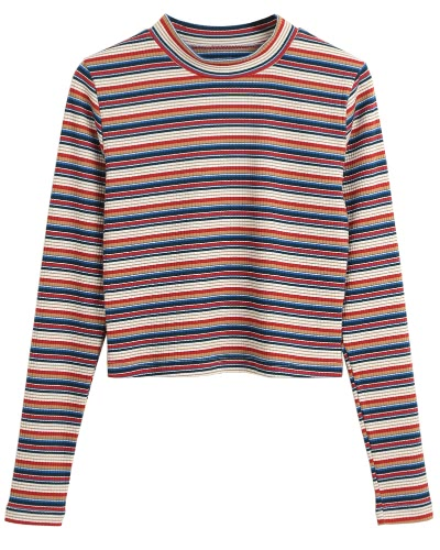 Women Cropped Striped Pullover Sweaters Ribbed Knitted Long Sleeves Sheath Stretchy Jumpers Crop Knitting Top