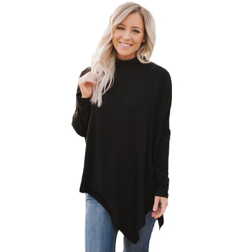 Moda Mulheres de Inverno Camisola de pescoço alto Irregular Hem Batwing Long Sleeve Loose Knitwear Pullover