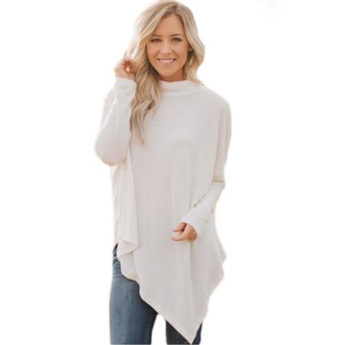Moda mujeres de invierno de cuello alto suéter irregular Hem Batwing manga larga de punto suelto prendas de vestir