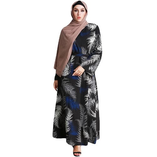 New Fashion Muslim Robe Maxi Dress Imprimir gravata de manga comprida Cintura Turkish Islamic Abaya Kaftans Long Dress Black